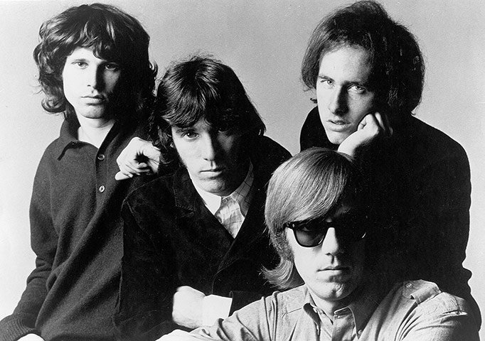 The Doors promo shot, 1966. From left: Jim Morrison, John Densmore, Ray Man