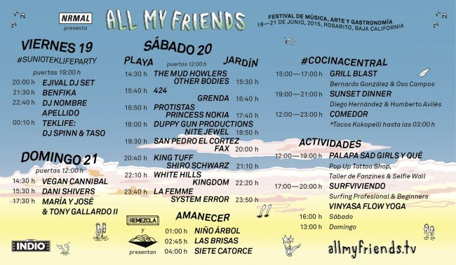 all my friends 2015 horarios