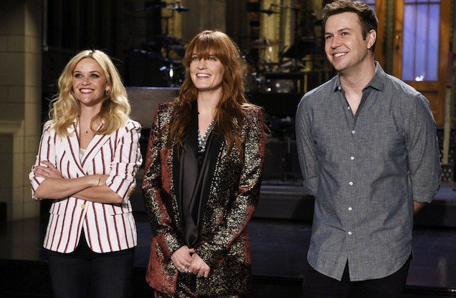 "SATURDAY NIGHT LIVE -- ""Reese Witherspoon"" Episode 1682 -- Pictured: (l-r) Reese Witherspoon, Florence Welch and Taran Killam on May 7, 2015 -- (Photo by: Dana Edelson/NBC)"