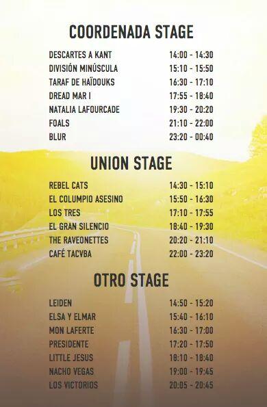 horarios festival coordenada 2015