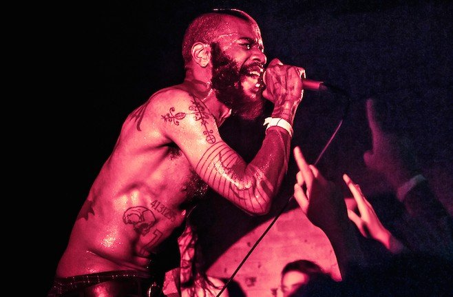 Death Grips performing on September 19, 2012 in Brooklyn, NY during CMJ.
