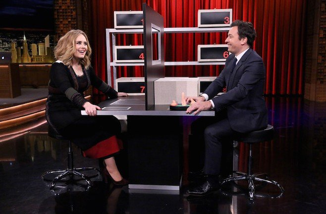 "THE TONIGHT SHOW STARRING JIMMY FALLON -- Episode 0373 -- Pictured: (l-r) Singer Adele plays ""Box of Lies"" with host Jimmy Fallon on November 23, 2015 -- (Photo by: Douglas Gorenstein/NBC)"