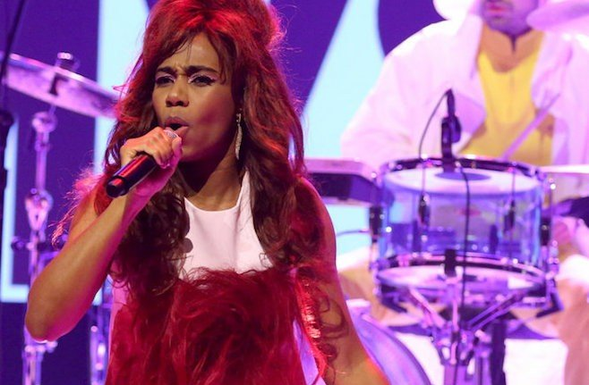 THE TONIGHT SHOW STARRING JIMMY FALLON -- Episode 0429 -- Pictured: Musical guest Santigold performs on March 2, 2016 -- (Photo by: Andrew Lipovsky/NBC)