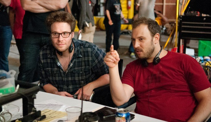 "Co-Directors Seth Rogen, left, and Evan Goldberg on the set of Columbia Pictures' ""The End of The World,"" starring Seth Rogen and Jay Baruchel."